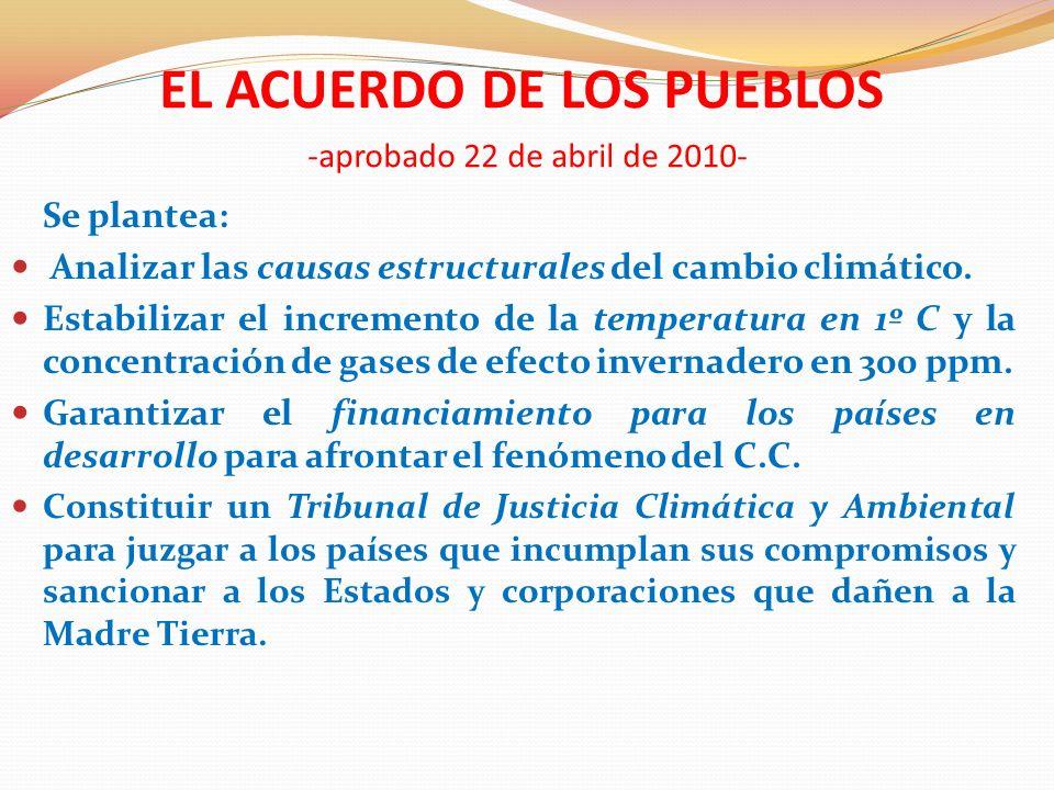 EL ACUERDO DE LOS PUEBLOS -aprobado el 22 de abril de 2010- Se plantea: Promover la realización de un Referéndum climático.