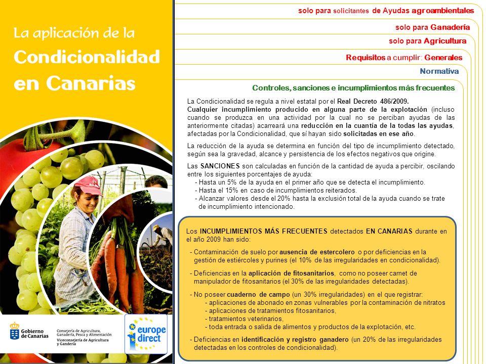 La Aplicación de la Condicionalidad en Canarias Ayudas agrarias afectadas. Normativa y requisitos a cumplir. Sanciones en caso de incumplimiento. solo