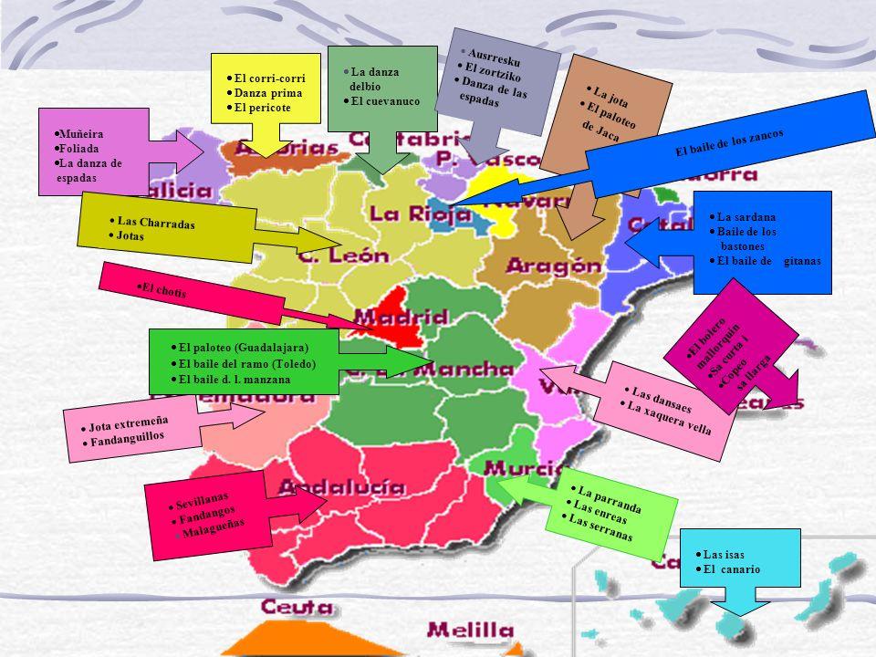 EXPOSICIÓN DE LOS PRINCIPALES BAILES POPULARES QUE HAY EN ESPAÑA COMUNIDAD POR COMUNIDAD