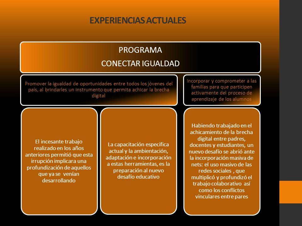 EXPERIENCIAS ACTUALES PROGRAMA CONECTAR IGUALDAD Promover la igualdad de oportunidades entre todos los jóvenes del país, al brindarles un instrumento