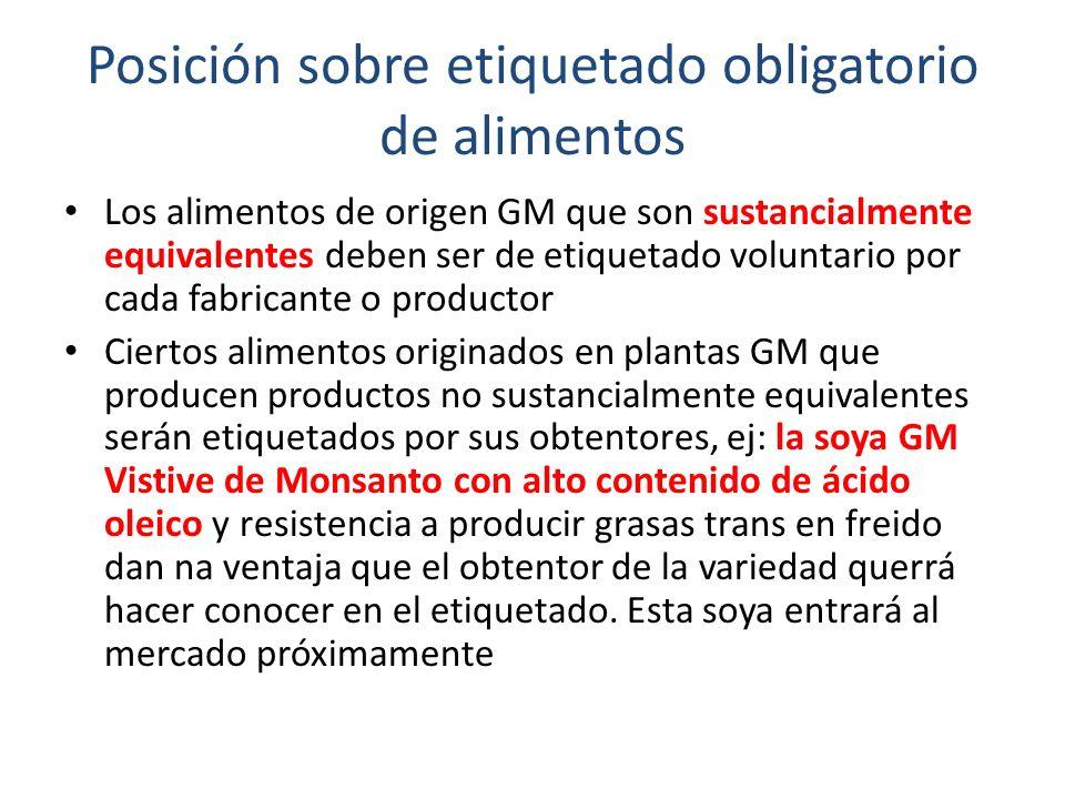 Posición sobre etiquetado obligatorio de alimentos Los alimentos de origen GM que son sustancialmente equivalentes deben ser de etiquetado voluntario