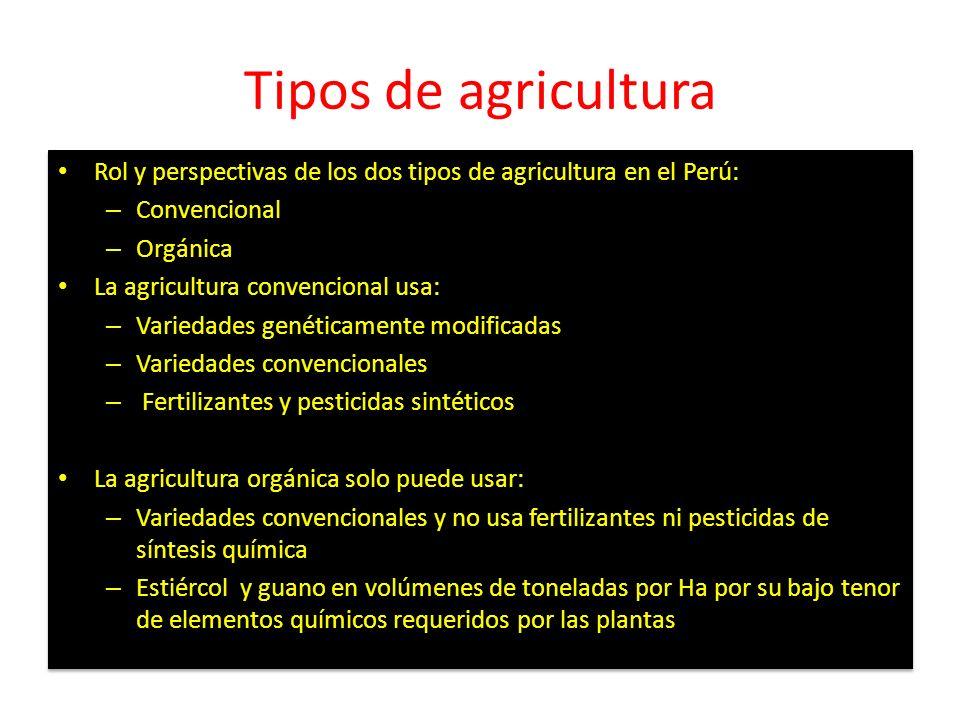 Tipos de agricultura Rol y perspectivas de los dos tipos de agricultura en el Perú: – Convencional – Orgánica La agricultura convencional usa: – Varie