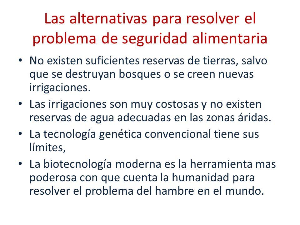 Las alternativas para resolver el problema de seguridad alimentaria No existen suficientes reservas de tierras, salvo que se destruyan bosques o se cr