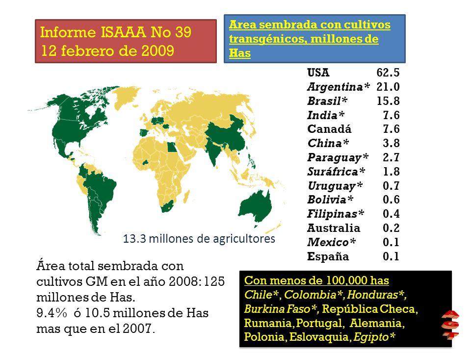 USA Argentina* Brasil* India* Canadá China* Paraguay* Suráfrica* Uruguay* Bolivia* Filipinas* Australia Mexico* España 62.5 21.0 15.8 7.6 3.8 2.7 1.8