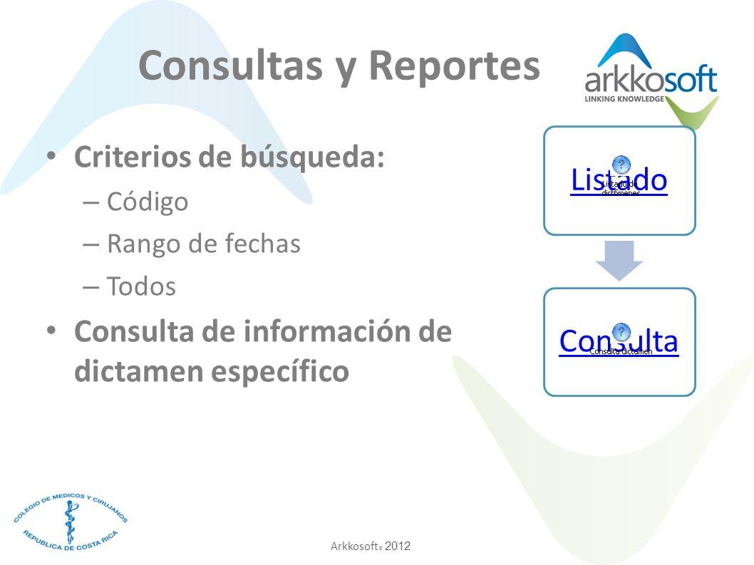 Arkkosoft ® 2012 ListadoConsulta Consultas y Reportes Criterios de búsqueda: – Código – Rango de fechas – Todos Consulta de información de dictamen específico