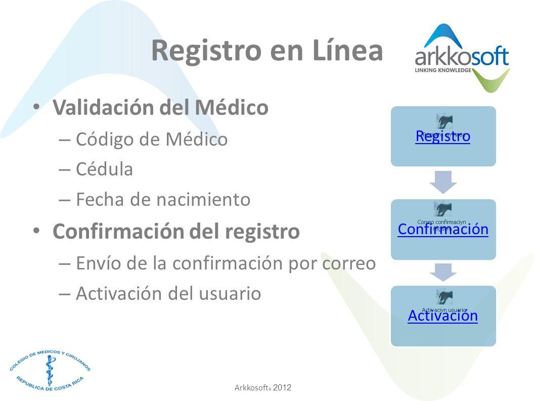 Arkkosoft ® 2012 Registro en Línea Validación del Médico – Código de Médico – Cédula – Fecha de nacimiento Confirmación del registro – Envío de la confirmación por correo – Activación del usuario RegistroConfirmaciónActivación