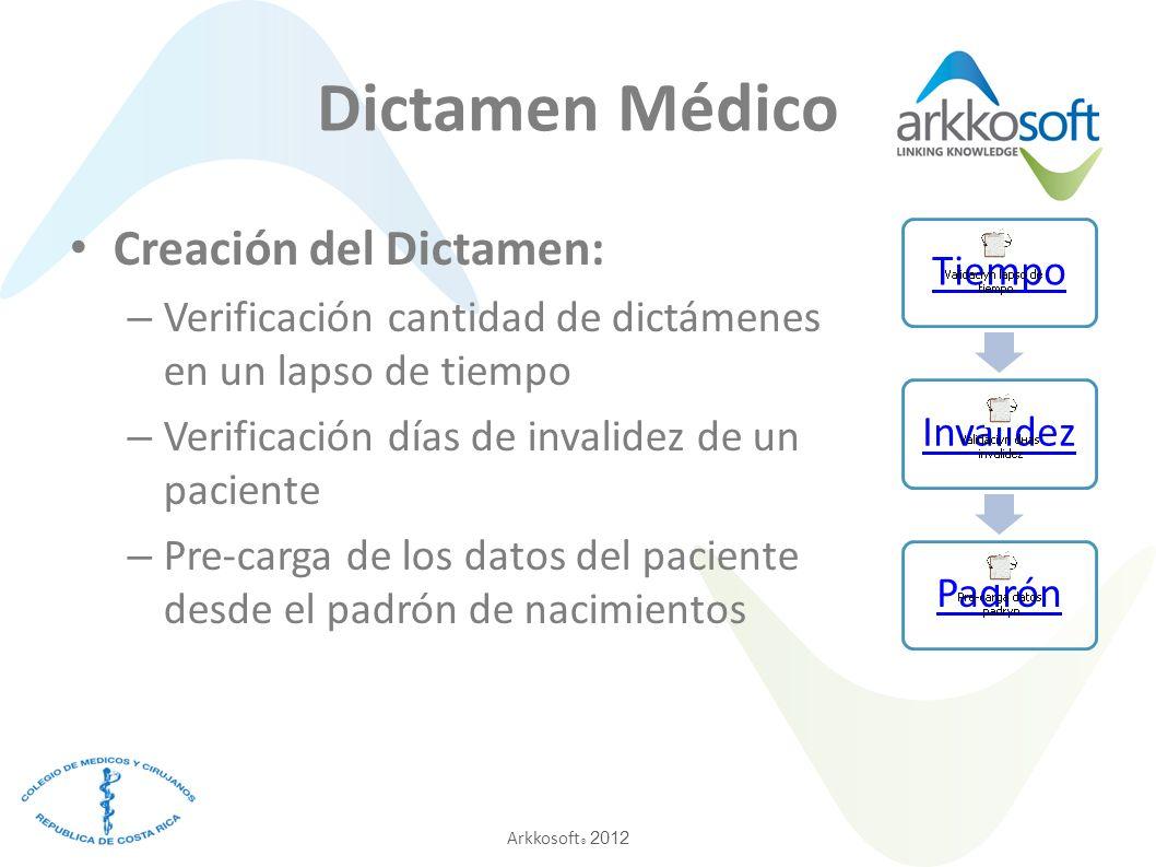 Arkkosoft ® 2012 Dictamen Médico Creación del Dictamen: – Verificación cantidad de dictámenes en un lapso de tiempo – Verificación días de invalidez de un paciente – Pre-carga de los datos del paciente desde el padrón de nacimientos TiempoInvalidezPadrón