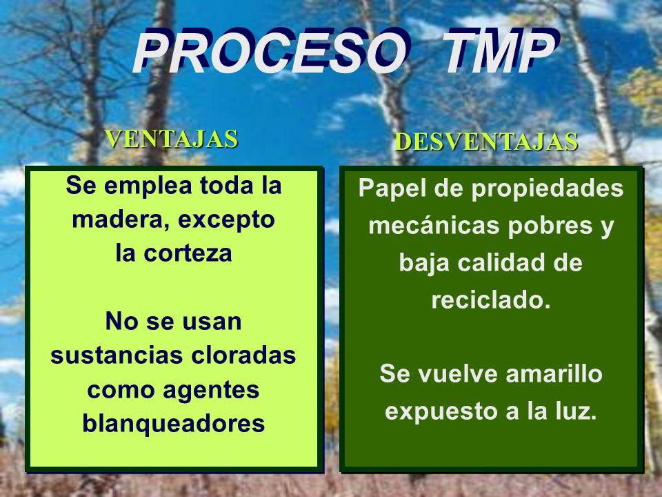 PROCESO TMP MADERA Para papel de baja calidad, por ejemplo papel para periódicos. Se usan solo maderas blandas, por ej. pino SE DESCORTEZA SE TRITURA
