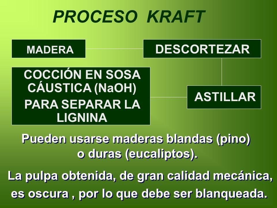PROCESO KRAFT MADERA DESCORTEZAR ASTILLAR COCCIÓN EN SOSA CÁUSTICA (NaOH) PARA SEPARAR LA LIGNINA Pueden usarse maderas blandas (pino) o duras (eucaliptos).