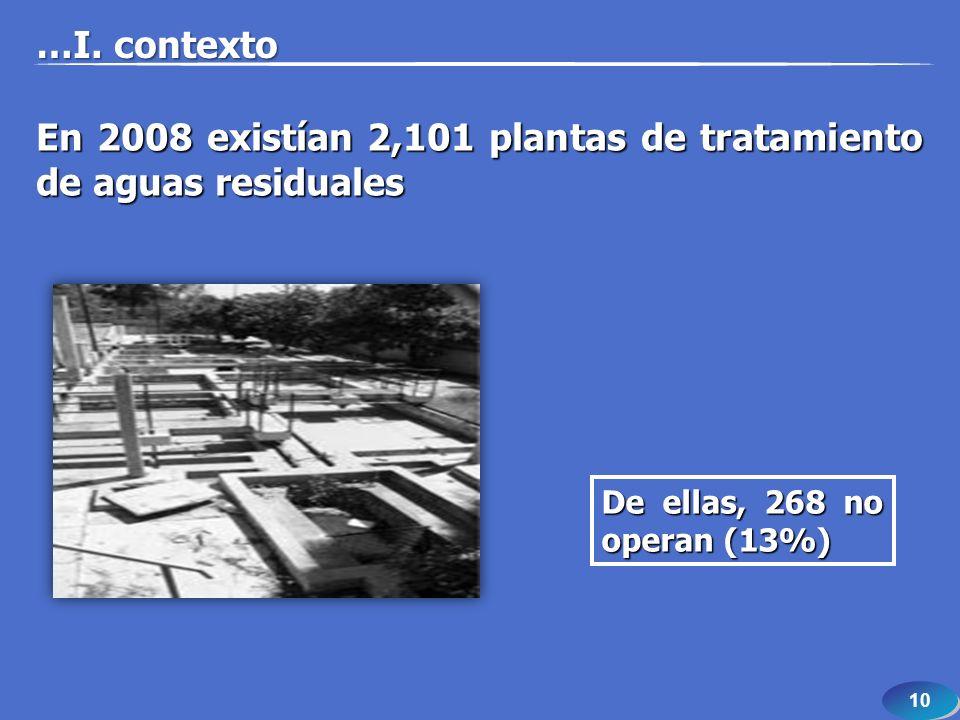 10 En 2008 existían 2,101 plantas de tratamiento de aguas residuales De ellas, 268 no operan (13%) …I. contexto