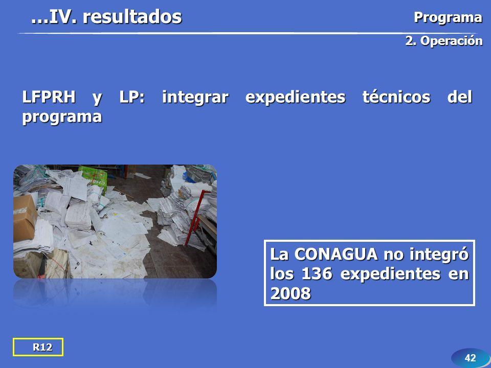 42 R12 LFPRH y LP: integrar expedientes técnicos del programa La CONAGUA no integró los 136 expedientes en 2008...IV. resultados 2. Operación Programa