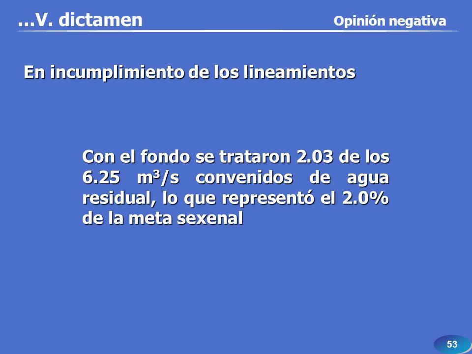 53...V. dictamen Con el fondo se trataron 2.03 de los 6.25 m 3 /s convenidos de agua residual, lo que representó el 2.0% de la meta sexenal En incumpl