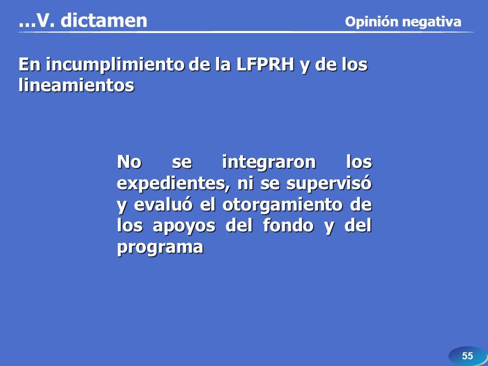 55 En incumplimiento de la LFPRH y de los lineamientos No se integraron los expedientes, ni se supervisó y evaluó el otorgamiento de los apoyos del fondo y del programa...V.