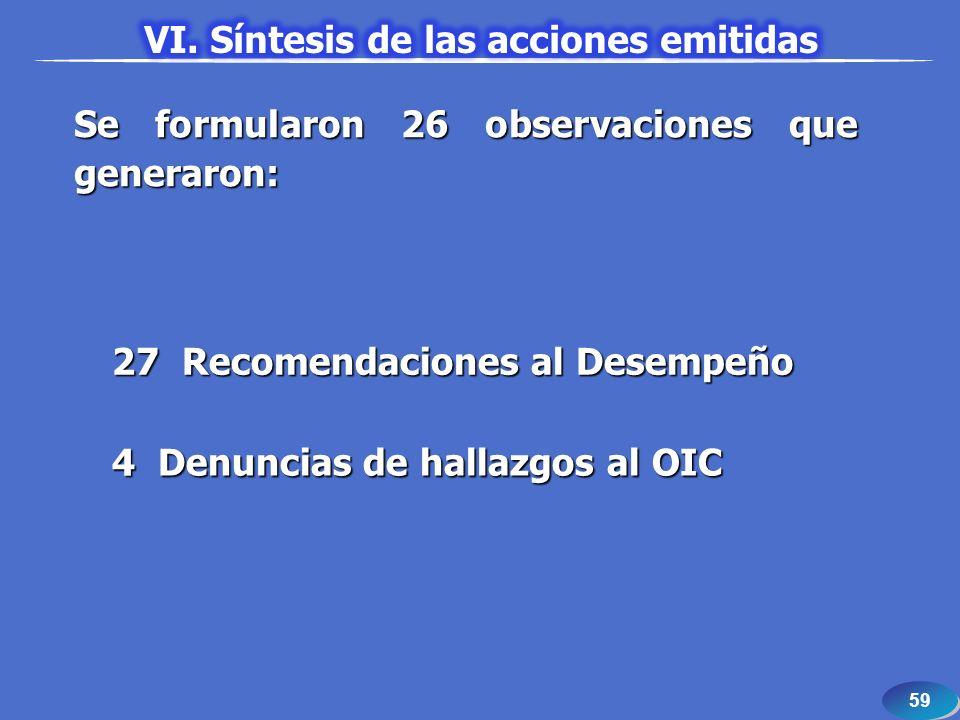 59 Se formularon 26 observaciones que generaron: 27 Recomendaciones al Desempeño 4 Denuncias de hallazgos al OIC