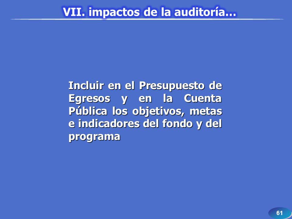 61 Incluir en el Presupuesto de Egresos y en la Cuenta Pública los objetivos, metas e indicadores del fondo y del programa