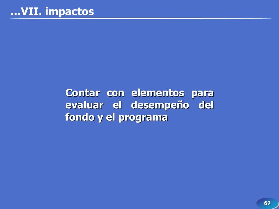 62 Contar con elementos para evaluar el desempeño del fondo y el programa...VII. impactos
