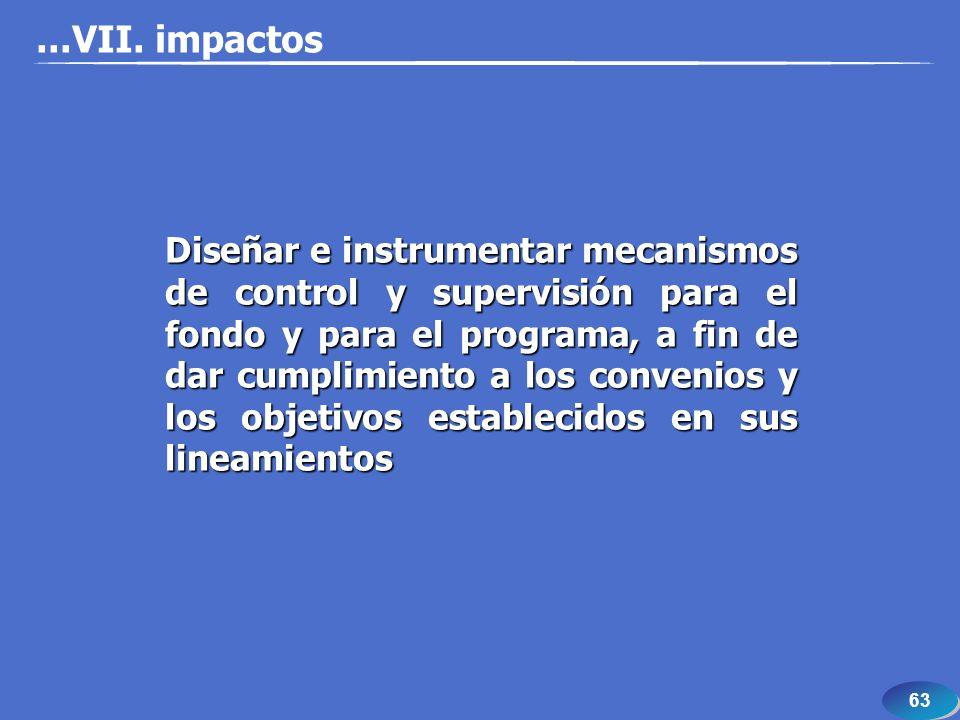 63 Diseñar e instrumentar mecanismos de control y supervisión para el fondo y para el programa, a fin de dar cumplimiento a los convenios y los objeti