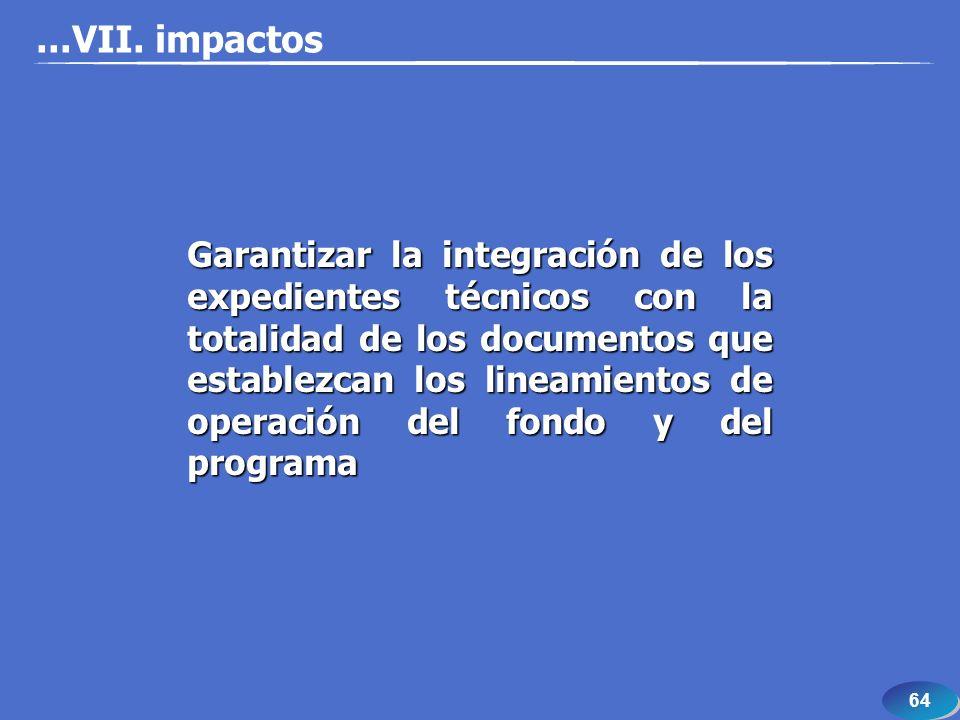 64...VII. impactos Garantizar la integración de los expedientes técnicos con la totalidad de los documentos que establezcan los lineamientos de operac