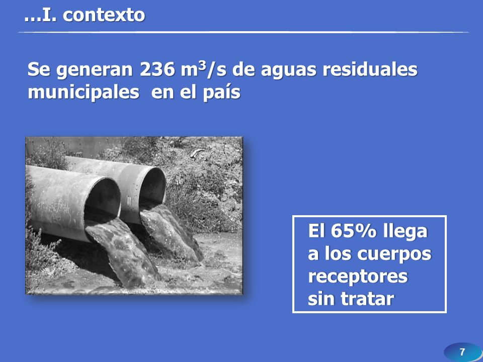 7 7 …I. contexto El 65% llega a los cuerpos receptores sin tratar Se generan 236 m 3 /s de aguas residuales municipales en el país