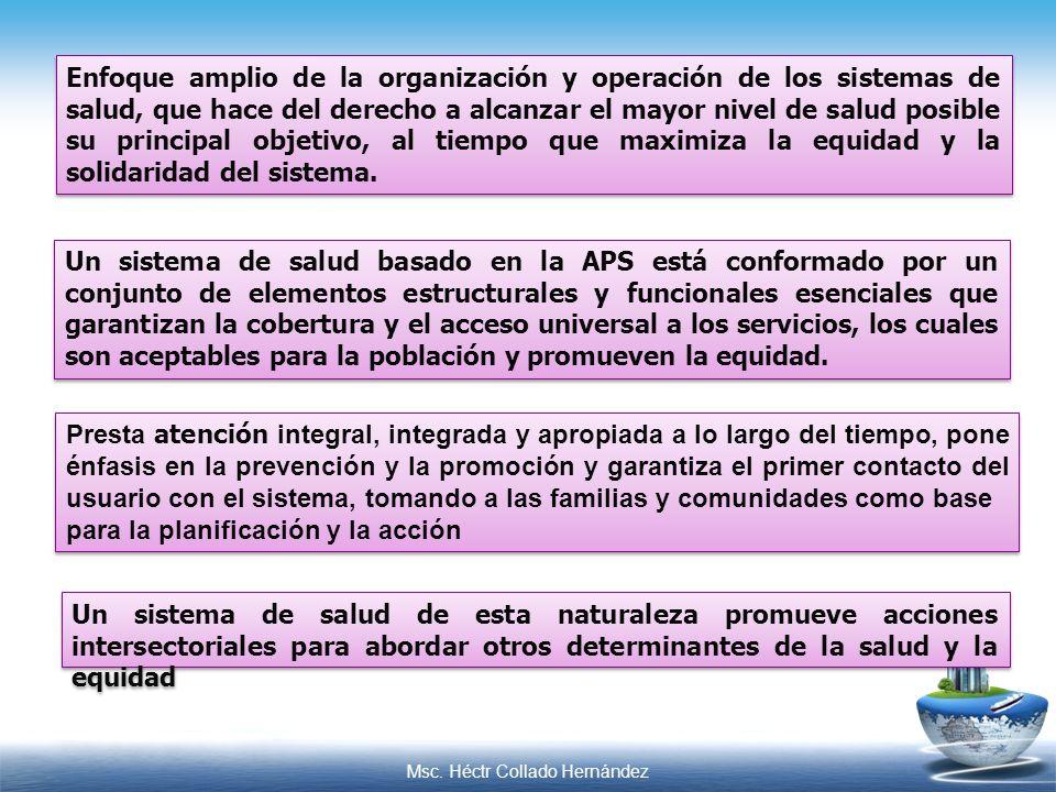 Msc. Héctr Collado Hernández Enfoque amplio de la organización y operación de los sistemas de salud, que hace del derecho a alcanzar el mayor nivel de