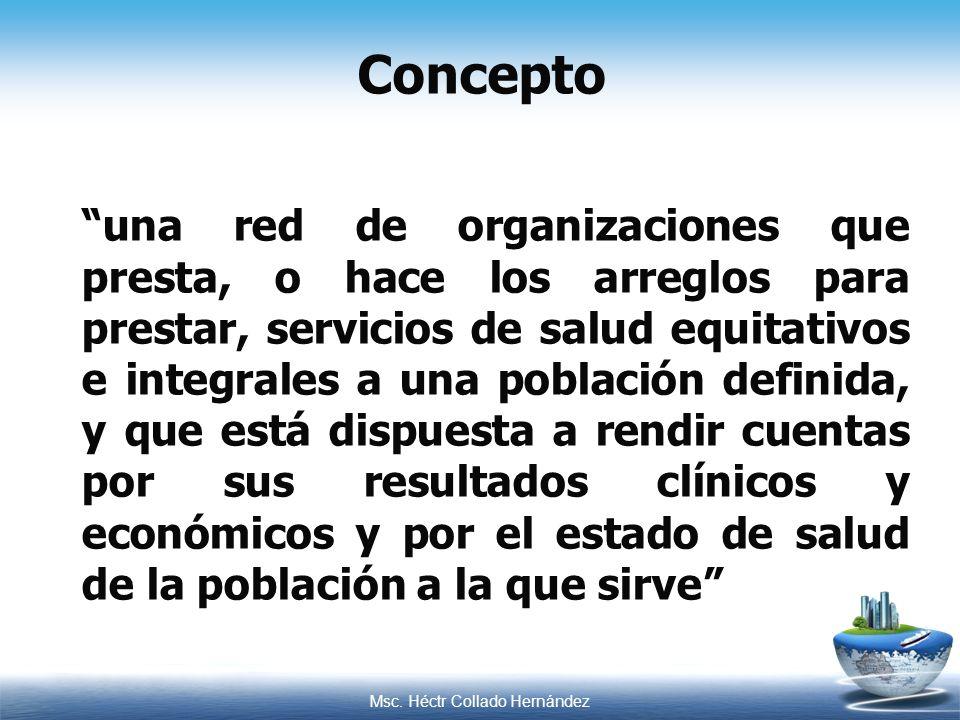 Msc. Héctr Collado Hernández una red de organizaciones que presta, o hace los arreglos para prestar, servicios de salud equitativos e integrales a una