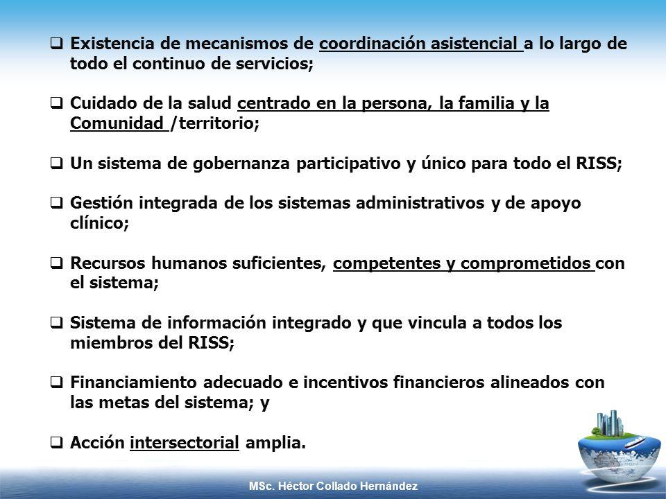 MSc. Héctor Collado Hernández Existencia de mecanismos de coordinación asistencial a lo largo de todo el continuo de servicios; Cuidado de la salud ce