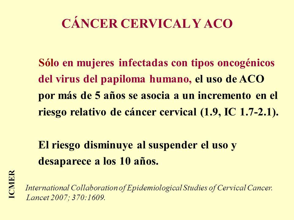 ICMER CÁNCER CERVICAL Y ACO Sólo en mujeres infectadas con tipos oncogénicos del virus del papiloma humano, el uso de ACO por más de 5 años se asocia