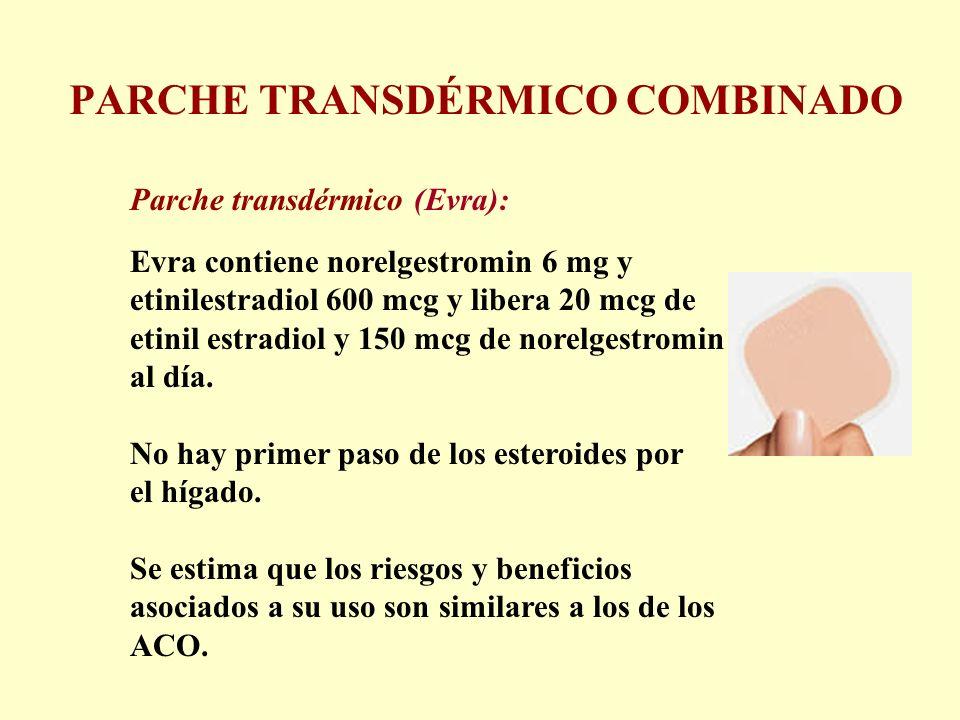 PARCHE TRANSDÉRMICO COMBINADO Parche transdérmico (Evra): Evra contiene norelgestromin 6 mg y etinilestradiol 600 mcg y libera 20 mcg de etinil estrad