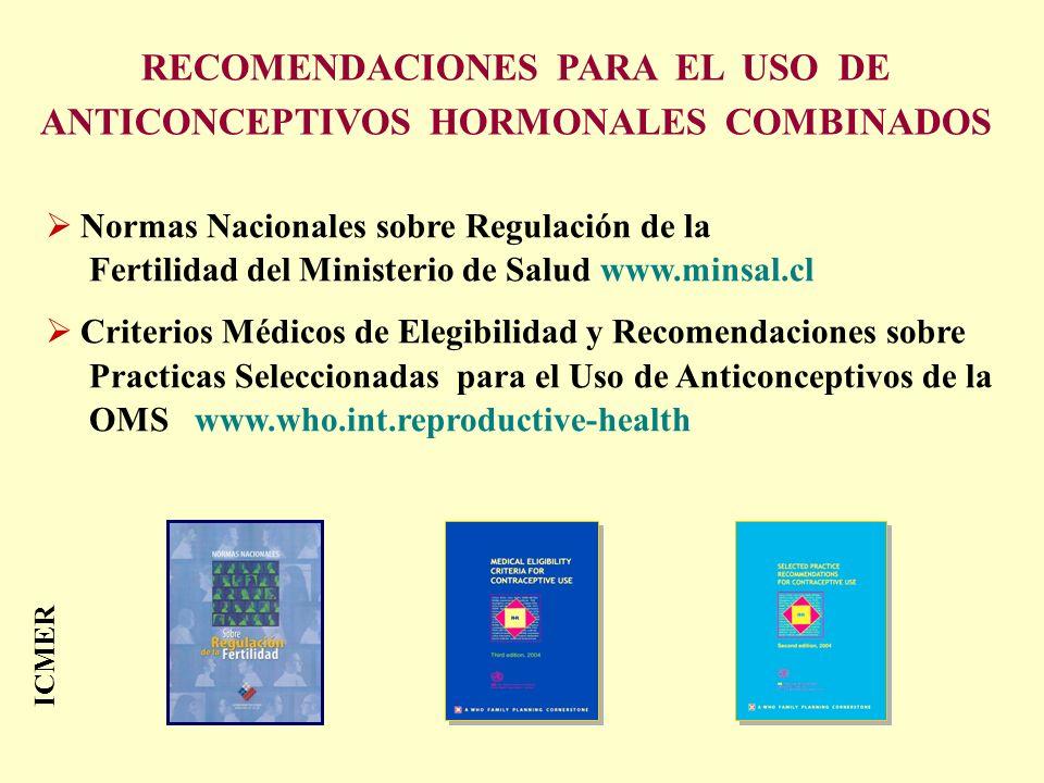 Normas Nacionales sobre Regulación de la Fertilidad del Ministerio de Salud www.minsal.cl Criterios Médicos de Elegibilidad y Recomendaciones sobre Pr