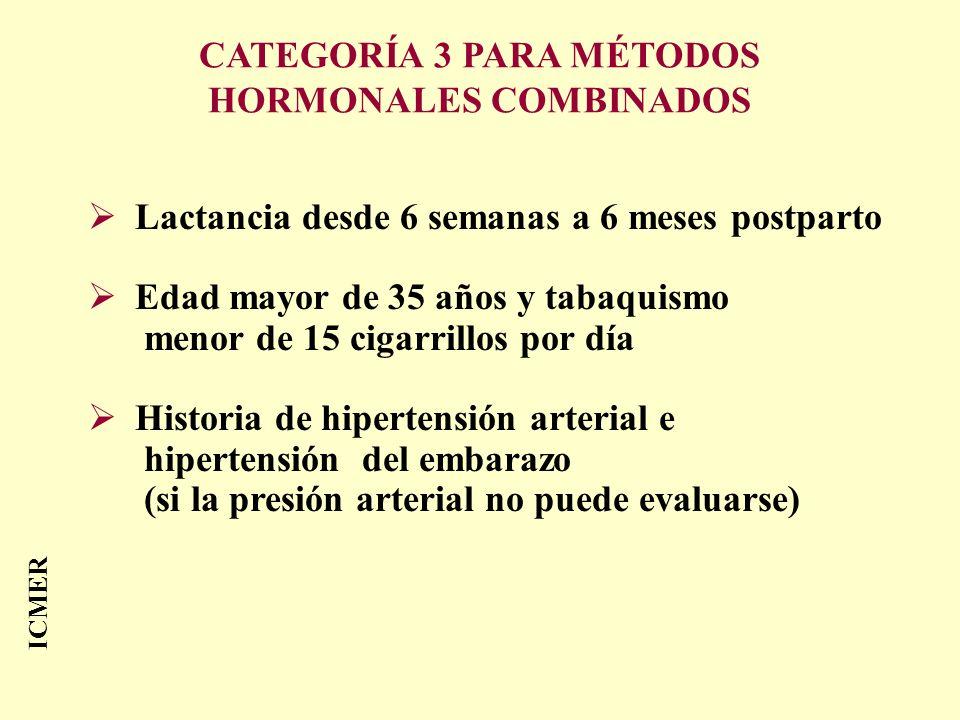 ICMER Lactancia desde 6 semanas a 6 meses postparto Edad mayor de 35 años y tabaquismo menor de 15 cigarrillos por día Historia de hipertensión arteri