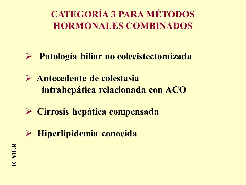 ICMER Patología biliar no colecistectomizada Antecedente de colestasia intrahepática relacionada con ACO Cirrosis hepática compensada Hiperlipidemia c