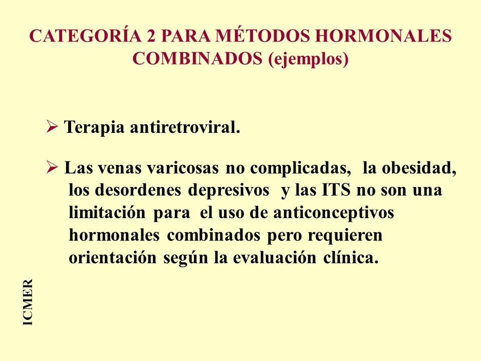 ICMER Terapia antiretroviral. Las venas varicosas no complicadas, la obesidad, los desordenes depresivos y las ITS no son una limitación para el uso d