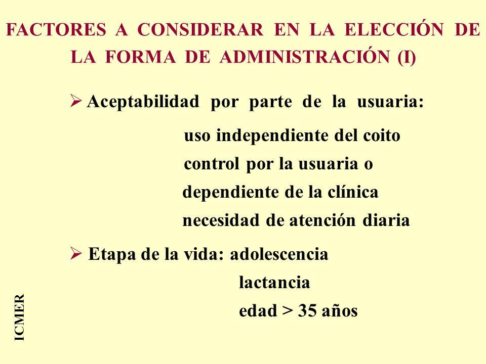 FACTORES A CONSIDERAR EN LA ELECCIÓN DE LA FORMA DE ADMINISTRACIÓN (I) Aceptabilidad por parte de la usuaria: uso independiente del coito control por