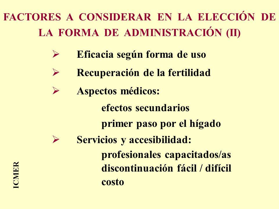 Eficacia según forma de uso Recuperación de la fertilidad Aspectos médicos: efectos secundarios primer paso por el hígado Servicios y accesibilidad: p