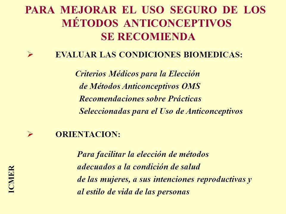 ICMER PARA MEJORAR EL USO SEGURO DE LOS MÉTODOS ANTICONCEPTIVOS SE RECOMIENDA EVALUAR LAS CONDICIONES BIOMEDICAS: Criterios Médicos para la Elección d