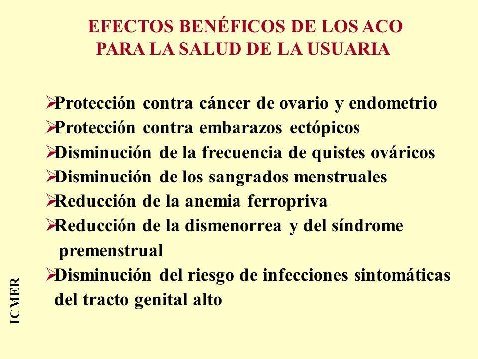 ICMER Protección contra cáncer de ovario y endometrio Protección contra embarazos ectópicos Disminución de la frecuencia de quistes ováricos Disminuci