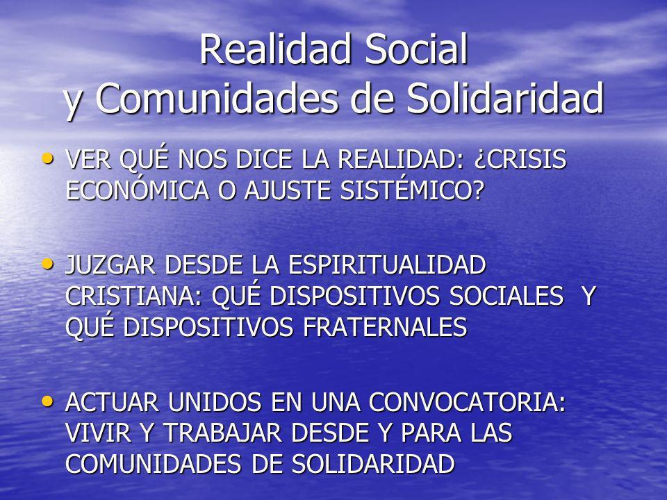Realidad Social y Comunidades de Solidaridad VER QUÉ NOS DICE LA REALIDAD: ¿CRISIS ECONÓMICA O AJUSTE SISTÉMICO? VER QUÉ NOS DICE LA REALIDAD: ¿CRISIS