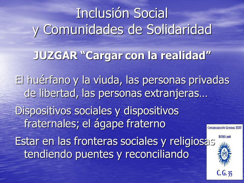 JUZGAR Cargar con la realidad El huérfano y la viuda, las personas privadas de libertad, las personas extranjeras… Dispositivos sociales y dispositivo