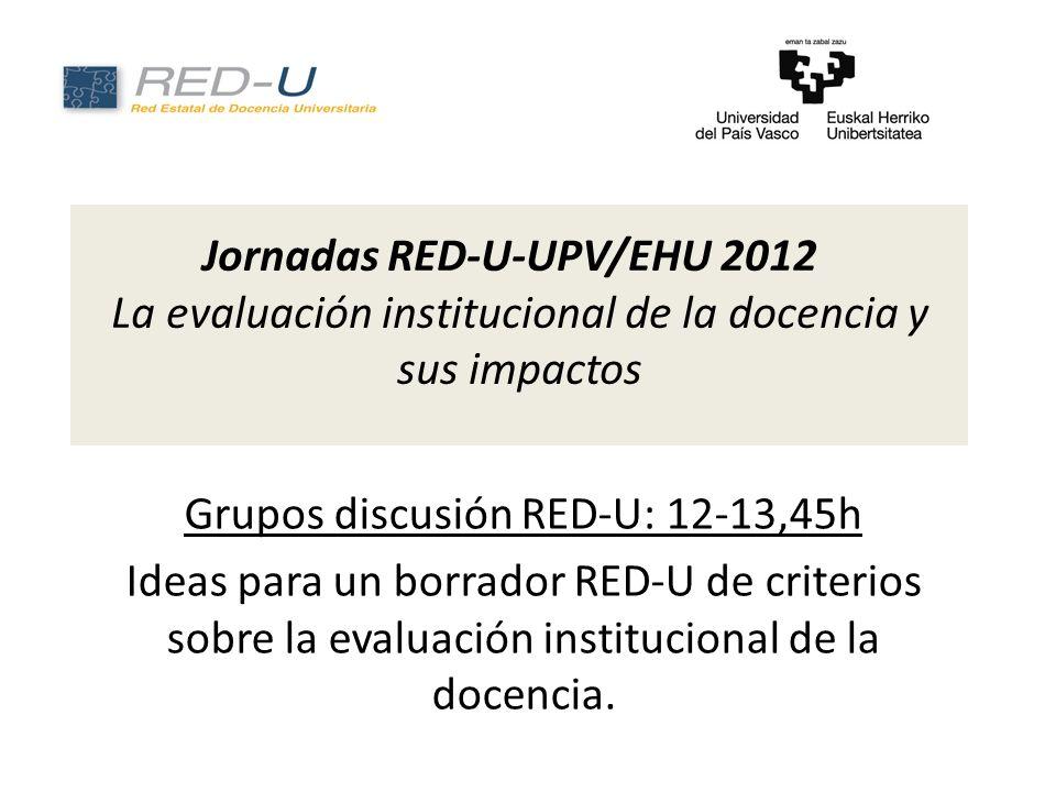 Jornadas RED-U-UPV/EHU 2012 La evaluación institucional de la docencia y sus impactos Grupos discusión RED-U: 12-13,45h Ideas para un borrador RED-U de criterios sobre la evaluación institucional de la docencia.
