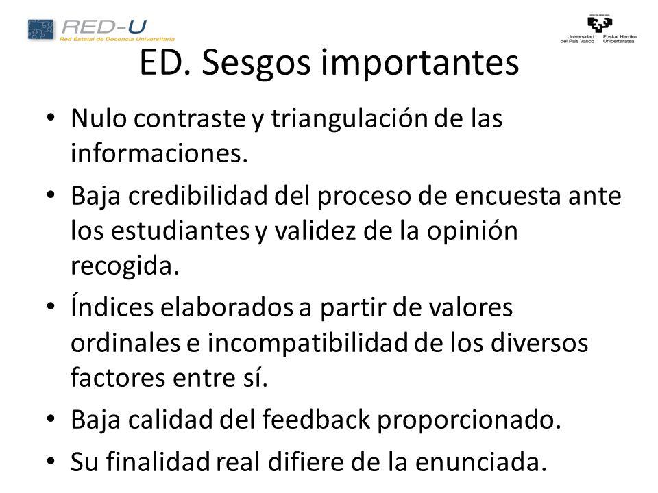 ED. Sesgos importantes Nulo contraste y triangulación de las informaciones.