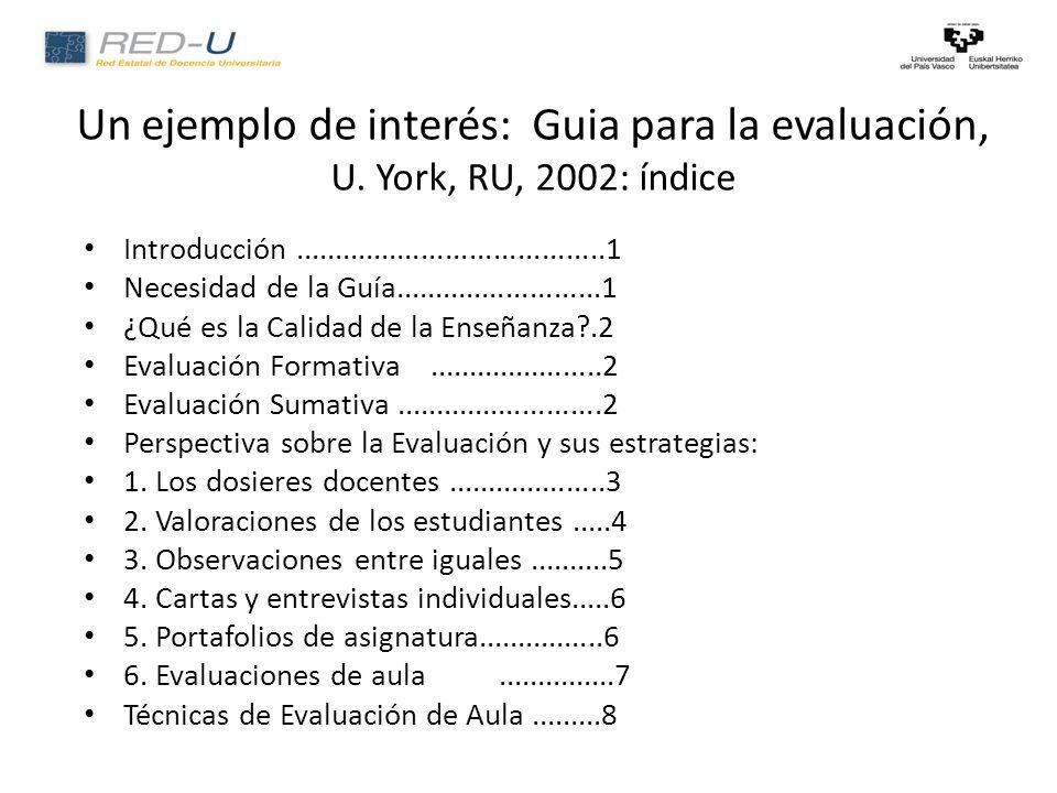 Un ejemplo de interés: Guia para la evaluación, U.