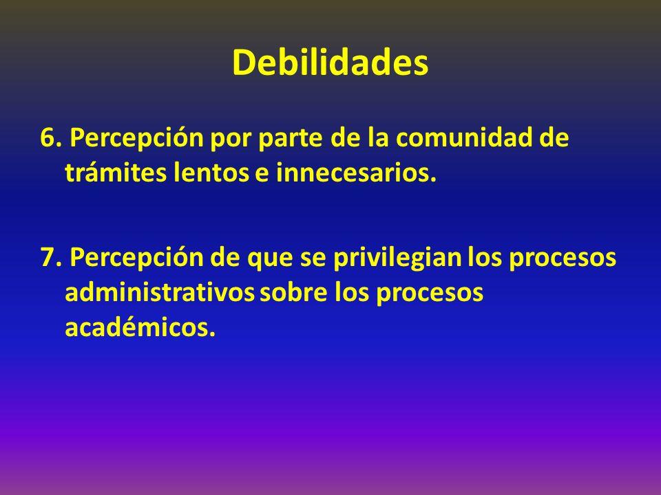 Debilidades 6. Percepción por parte de la comunidad de trámites lentos e innecesarios. 7. Percepción de que se privilegian los procesos administrativo