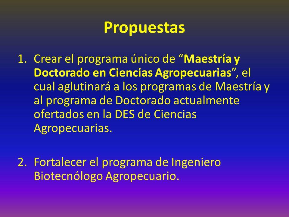 Propuestas 1.Crear el programa único de Maestría y Doctorado en Ciencias Agropecuarias, el cual aglutinará a los programas de Maestría y al programa de Doctorado actualmente ofertados en la DES de Ciencias Agropecuarias.