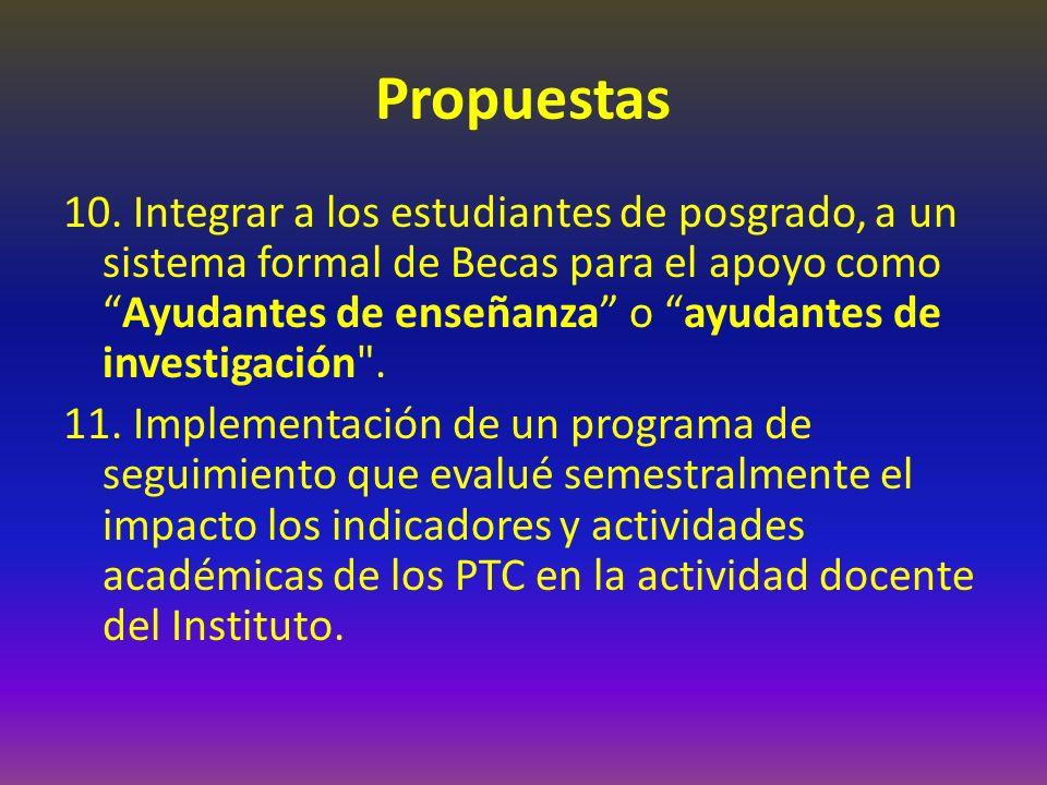 Propuestas 10. Integrar a los estudiantes de posgrado, a un sistema formal de Becas para el apoyo comoAyudantes de enseñanza o ayudantes de investigac