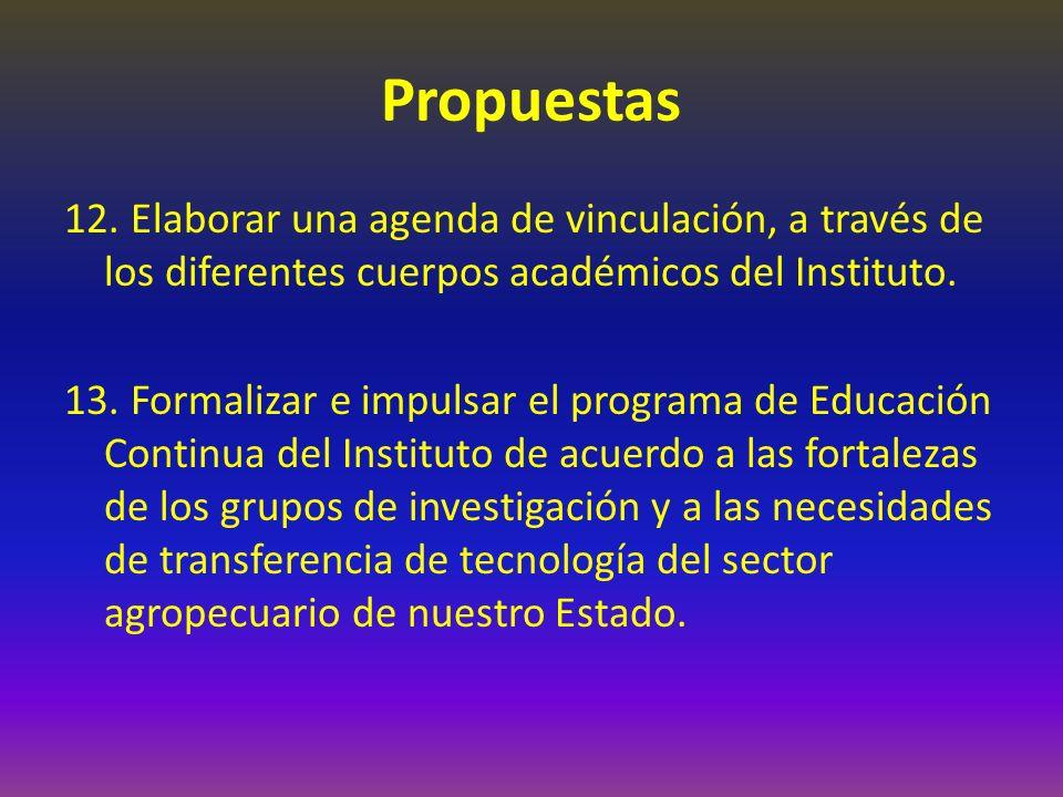 Propuestas 12. Elaborar una agenda de vinculación, a través de los diferentes cuerpos académicos del Instituto. 13. Formalizar e impulsar el programa