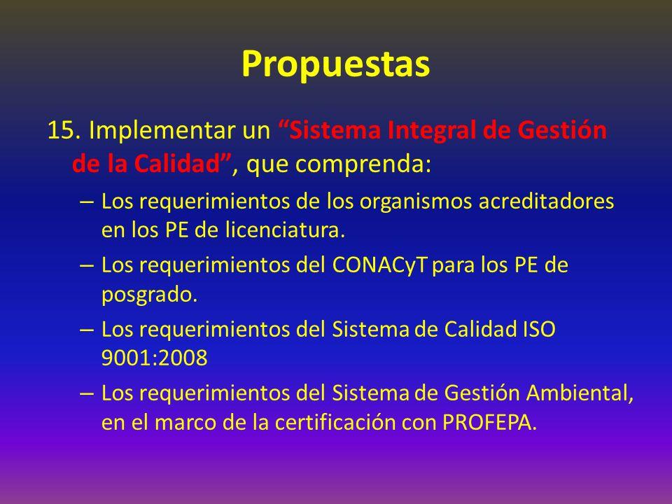 Propuestas 15. Implementar un Sistema Integral de Gestión de la Calidad, que comprenda: – Los requerimientos de los organismos acreditadores en los PE