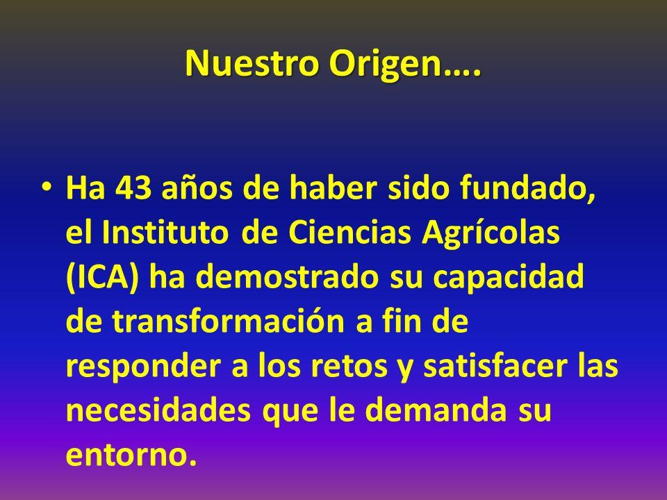 Nuestro Origen…. Ha 43 años de haber sido fundado, el Instituto de Ciencias Agrícolas (ICA) ha demostrado su capacidad de transformación a fin de resp
