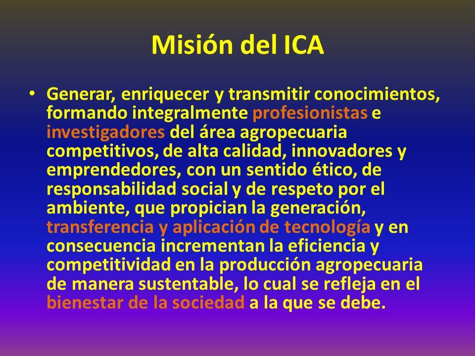 Misión del ICA Generar, enriquecer y transmitir conocimientos, formando integralmente profesionistas e investigadores del área agropecuaria competitivos, de alta calidad, innovadores y emprendedores, con un sentido ético, de responsabilidad social y de respeto por el ambiente, que propician la generación, transferencia y aplicación de tecnología y en consecuencia incrementan la eficiencia y competitividad en la producción agropecuaria de manera sustentable, lo cual se refleja en el bienestar de la sociedad a la que se debe.