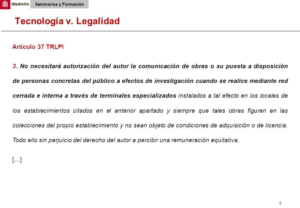 5 Seminarios y Formación Artículo 37 TRLPI 3.