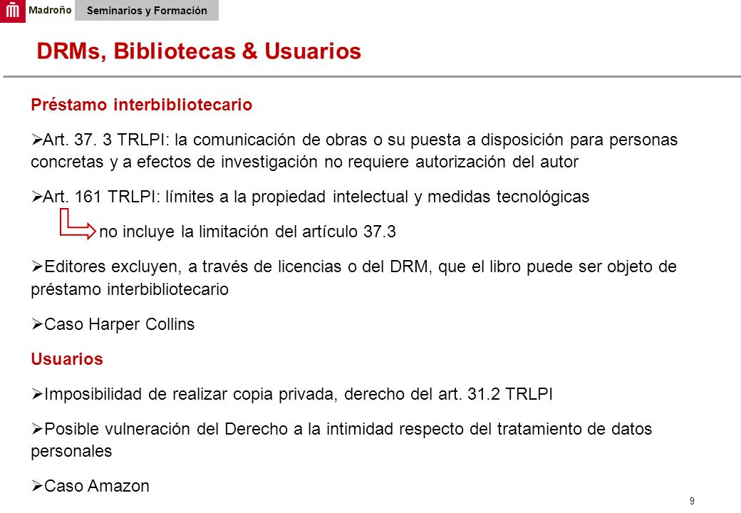 9 Seminarios y Formación Préstamo interbibliotecario Art.